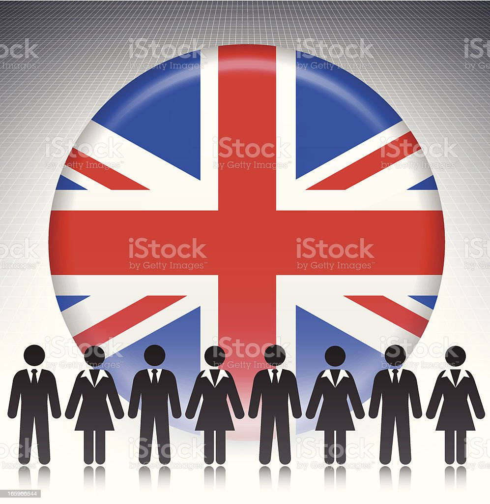 British Flag Button with Business Concept Stick Figures vector art illustration