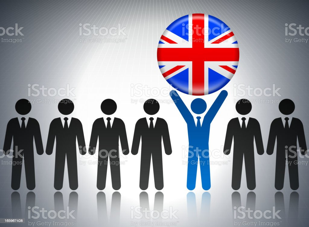 British Flag Button with Business Concept Stick Figures royalty-free stock vector art
