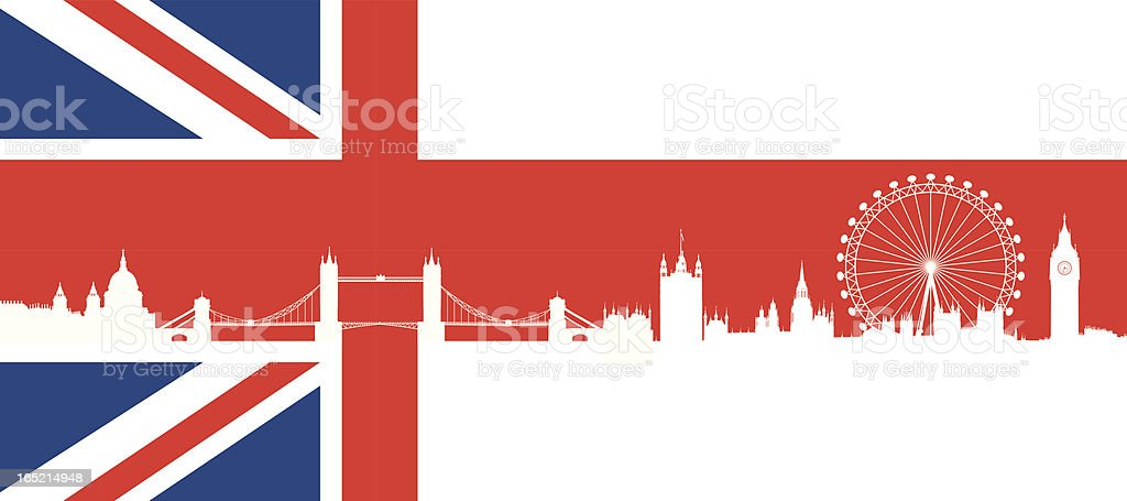 British flag  with very detailed  silhouette London skyline composition. vector art illustration
