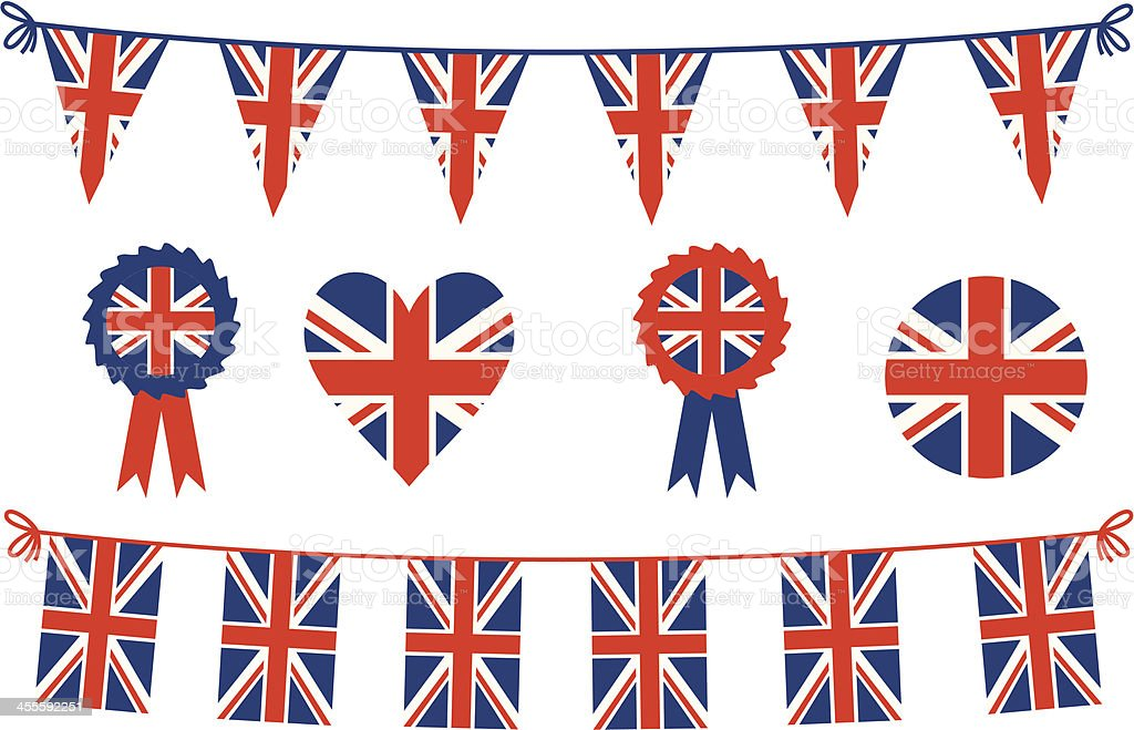 British Flags and Bunting vector art illustration