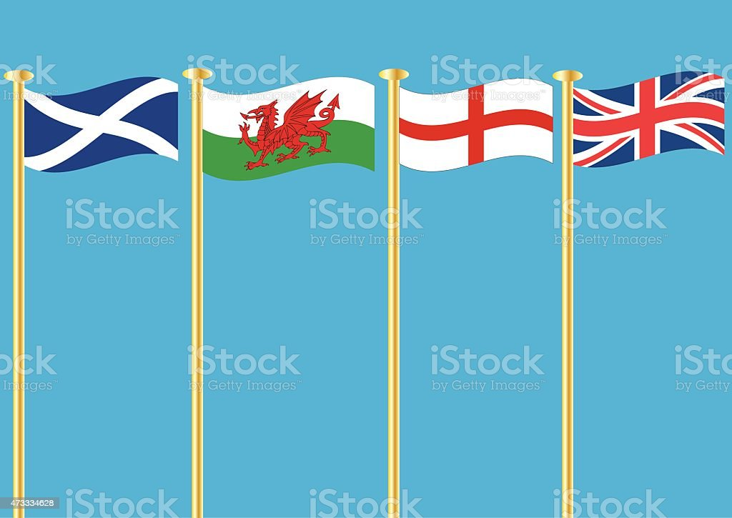 British Flags vector art illustration