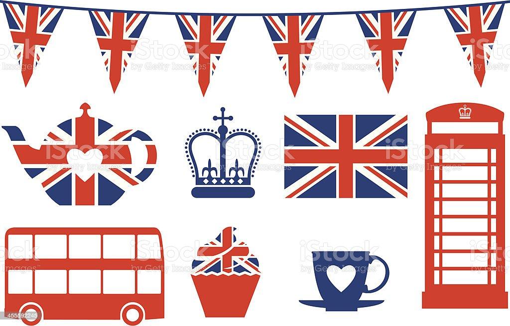 British Icons vector art illustration