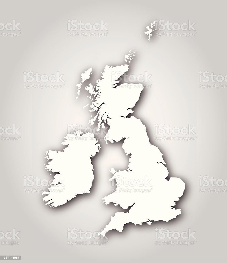 British Isles Map Silhouette White vector art illustration