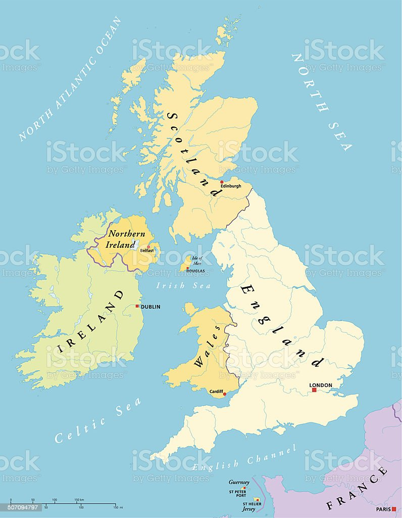 British Isles Map vector art illustration
