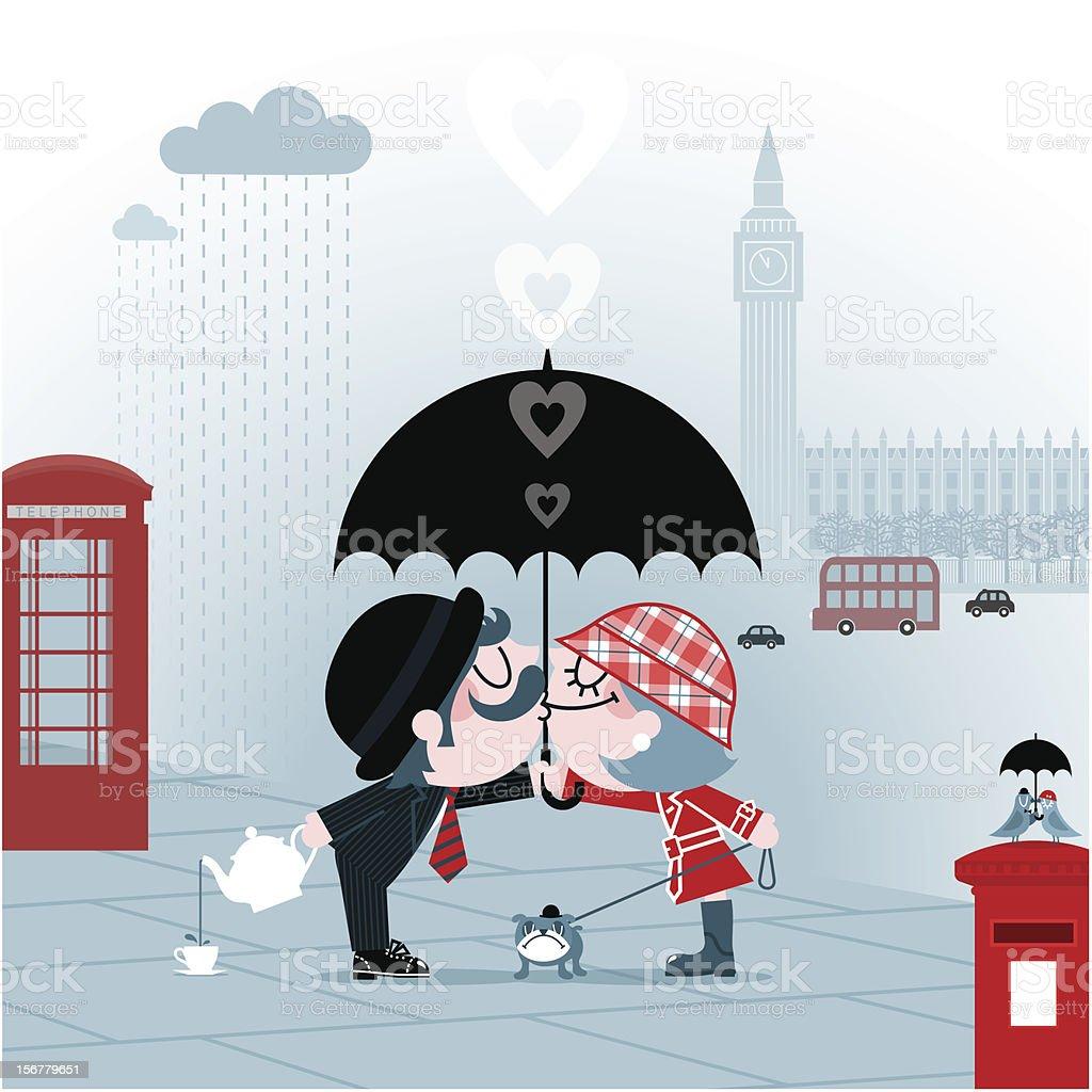 British kiss vector art illustration