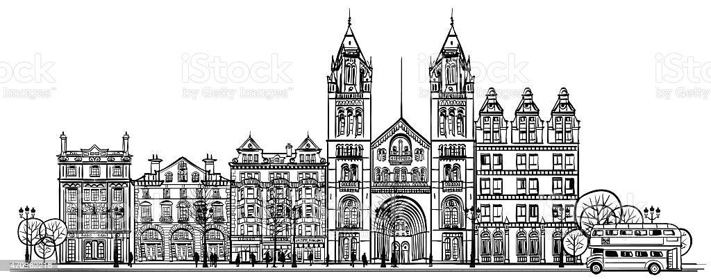 British old traditional facade of London vector art illustration