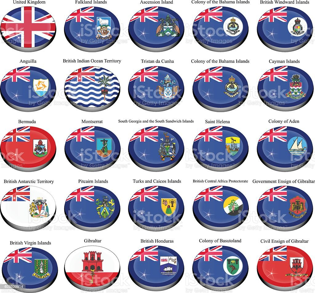 British overseas territories (BOT) and colonies flags. vector art illustration