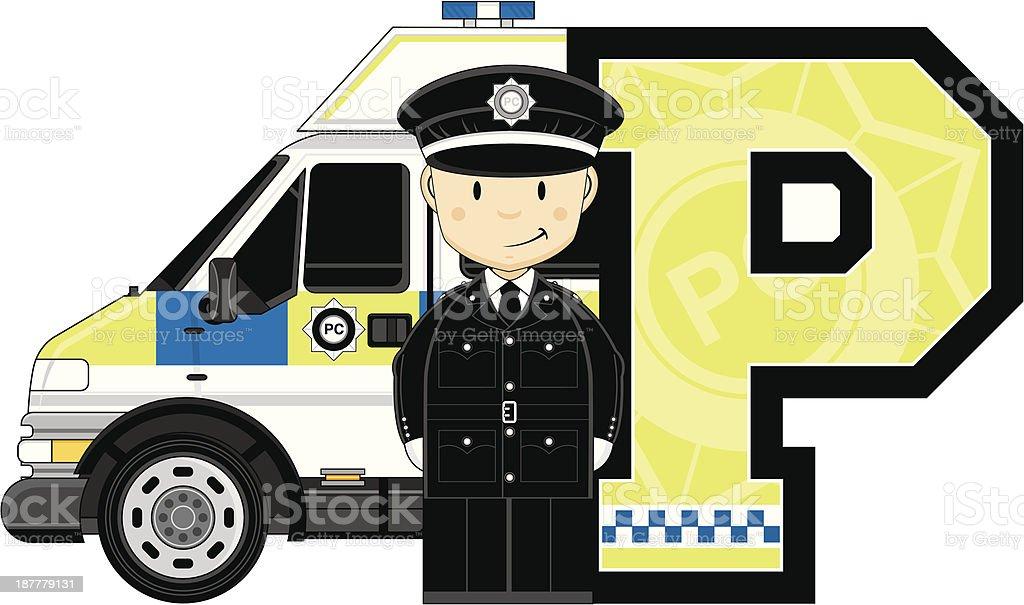 British Policeman & Van Letter P royalty-free stock vector art