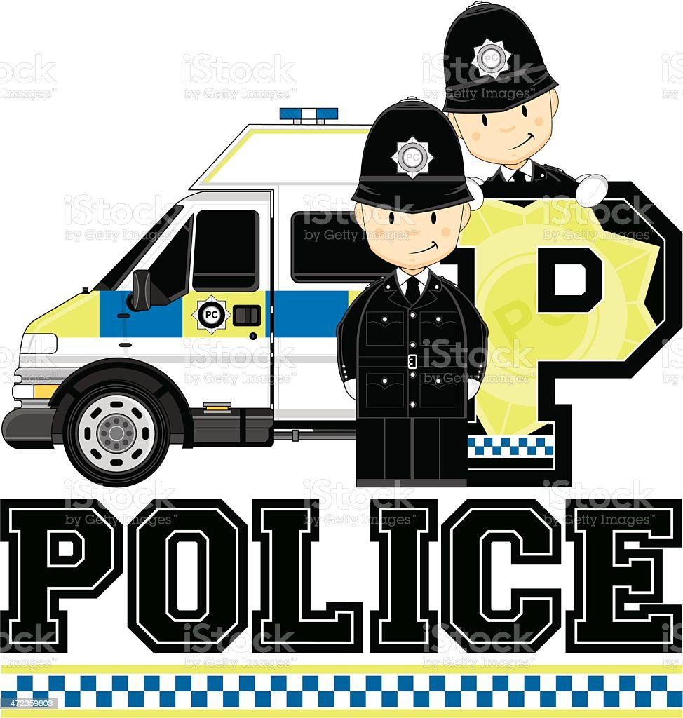 British Policeman & Van Letter P royalty-free stock vector art