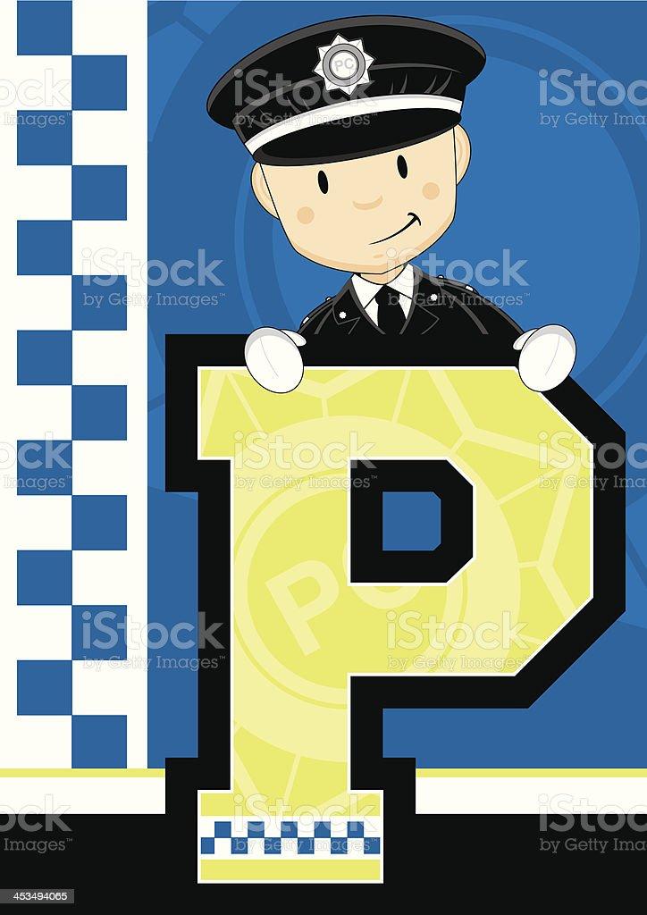 British Policemen Letter P royalty-free stock vector art