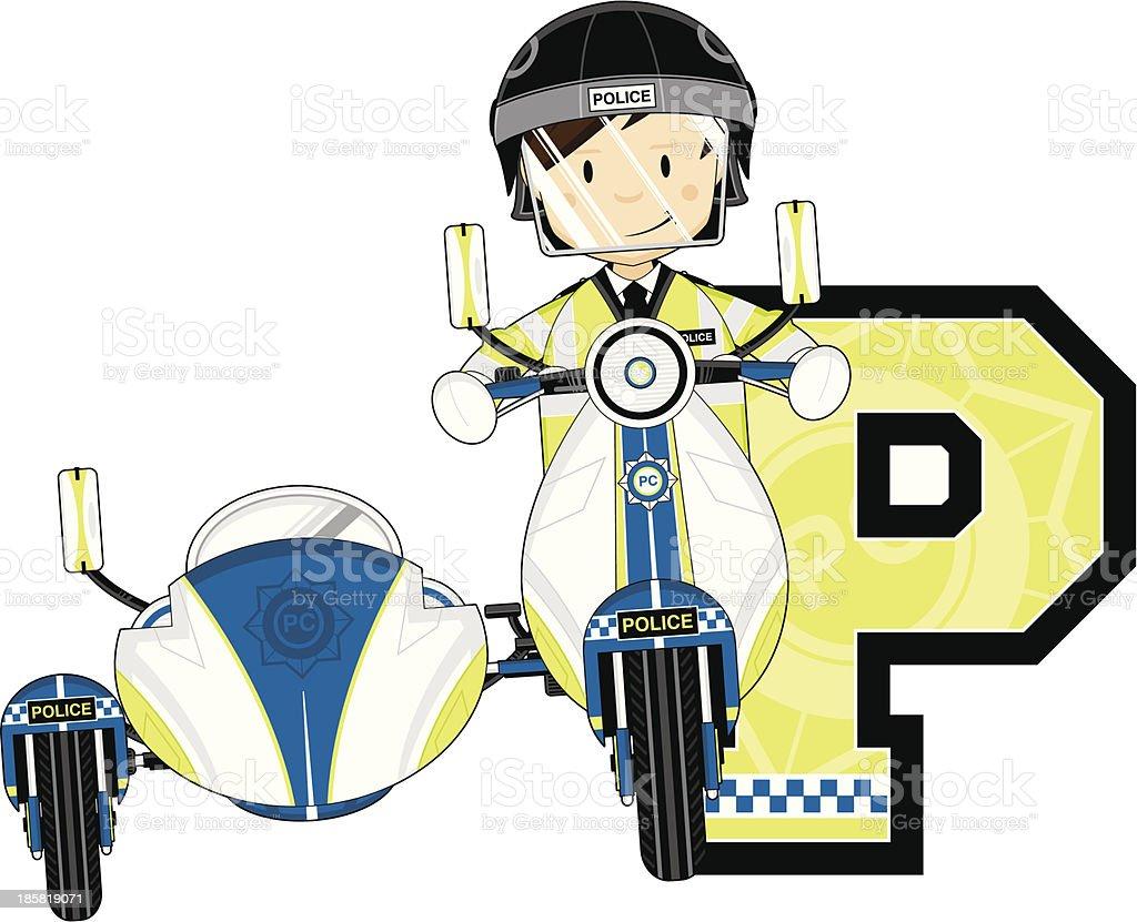 British Policemen on Motorbike Letter P royalty-free stock vector art