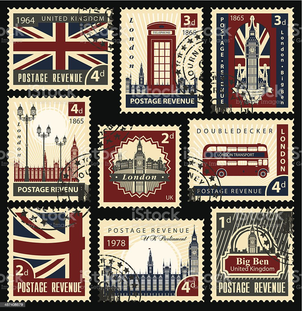 British postage stamps vector art illustration