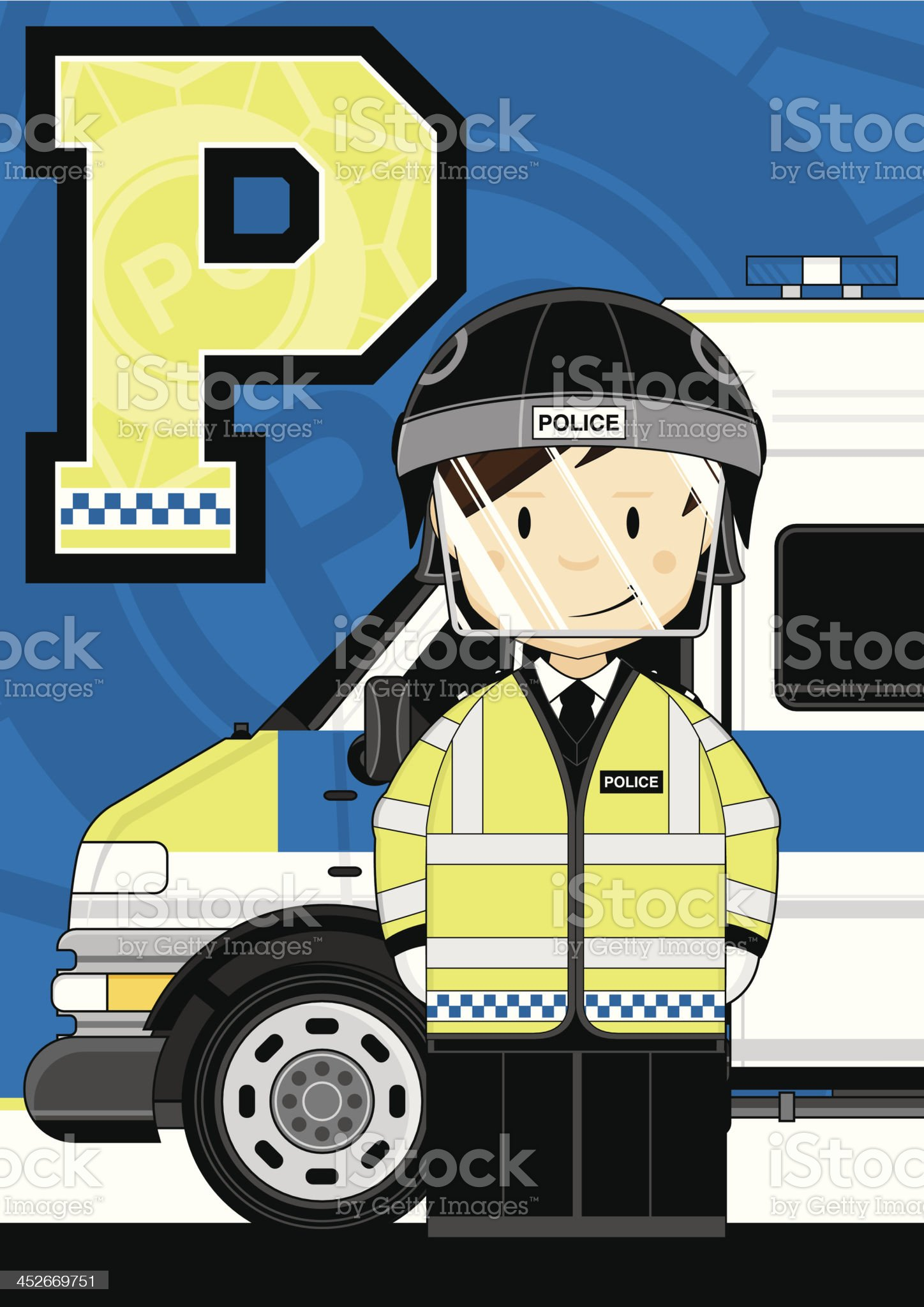 British Riot Policemen Letter P royalty-free stock vector art