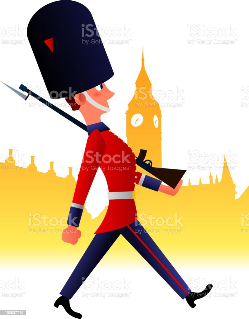 British Royal Guard royalty-free stock vector art