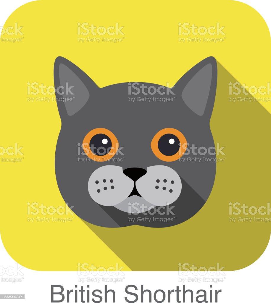 British Shorthair, Cat breed face cartoon flat icon design vector art illustration