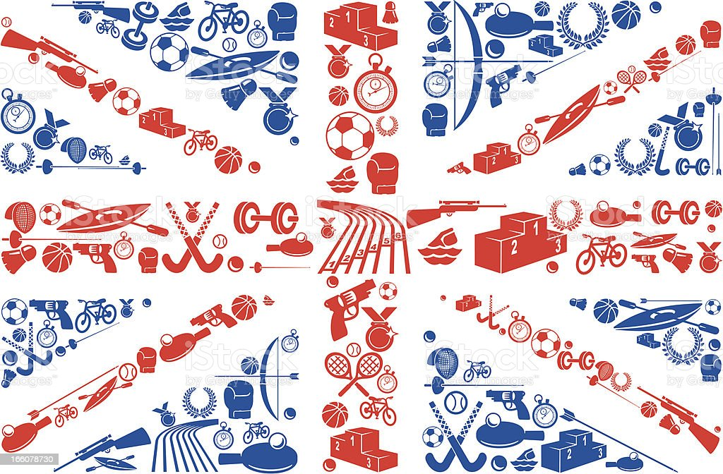 British Sport Union Jack flag Icons vector art illustration