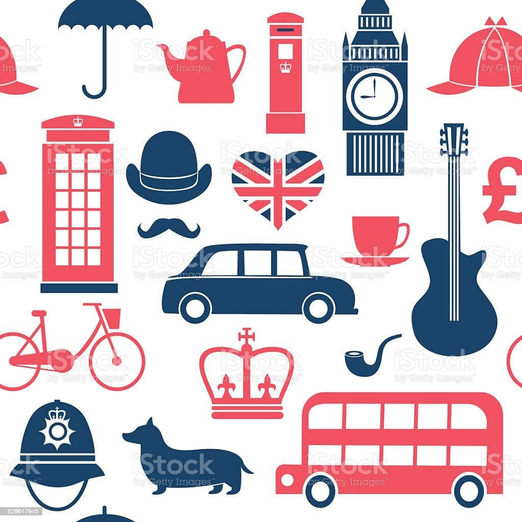 British symbols seamless pattern vector art illustration
