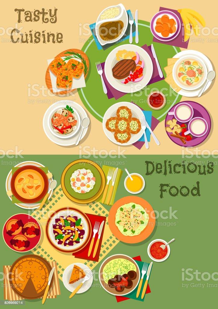 British, thai and finnish cuisine icon set design vector art illustration