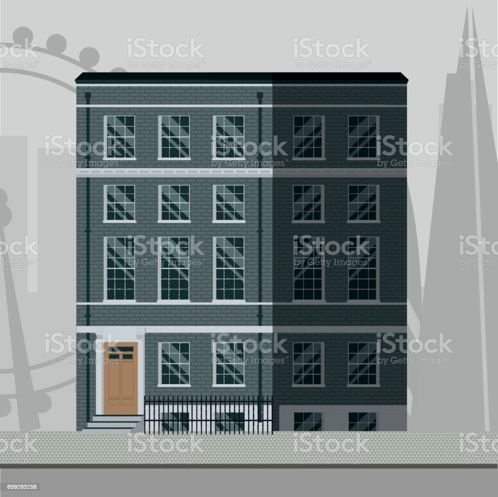British Traditional Apartment Building With Stairs In The Main