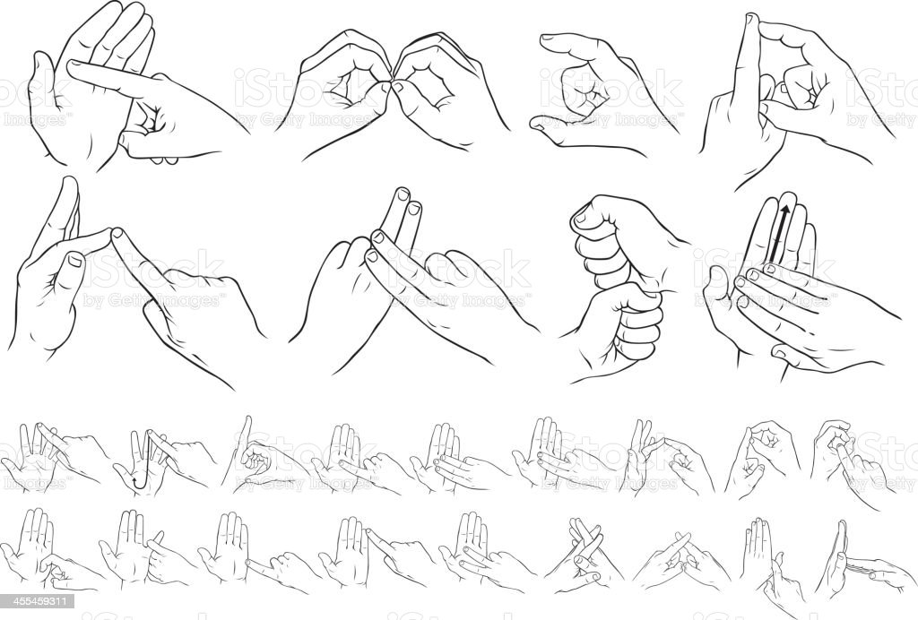 British two handed sign language royalty-free stock vector art