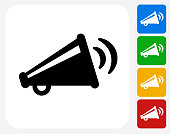 Broadcasting Megaphone Icon Flat Graphic Design