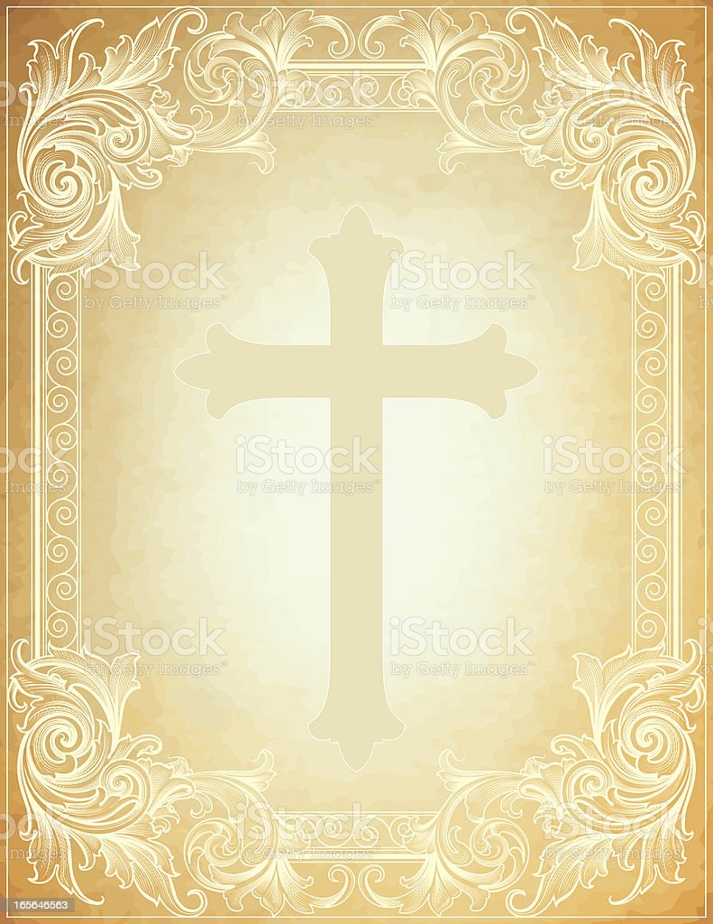 Broadleaf Cross Parchment royalty-free stock vector art