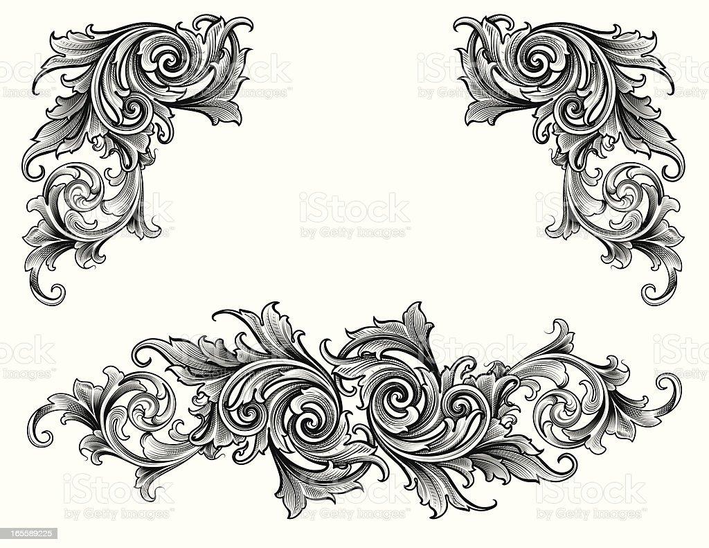 Broadleaf Scroll Set royalty-free stock vector art