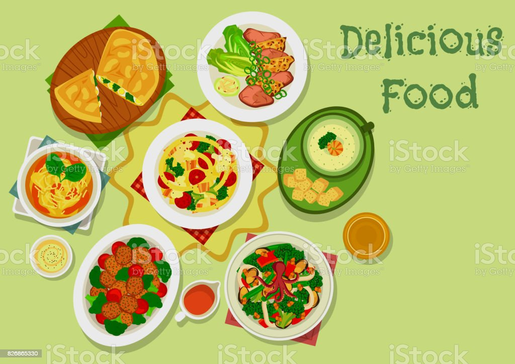 Broccoli dishes icon for healthy food design vector art illustration