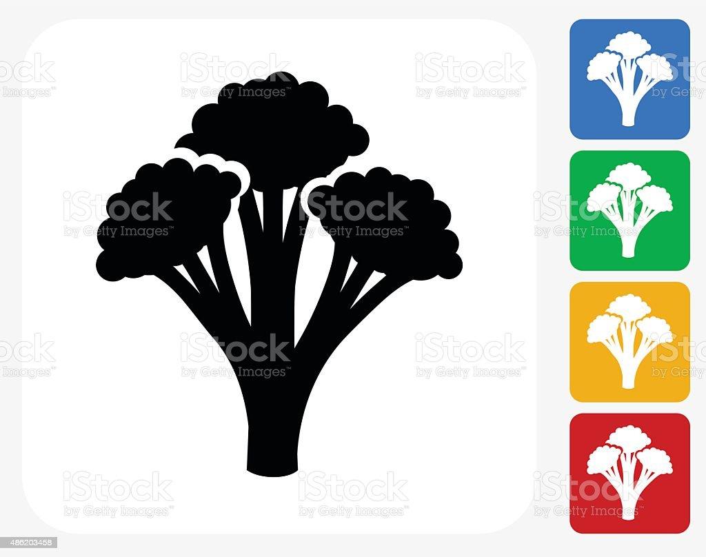 Broccoli Icon Flat Graphic Design vector art illustration