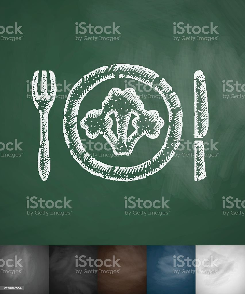 broccoli on plate icon. Hand drawn vector illustration vector art illustration