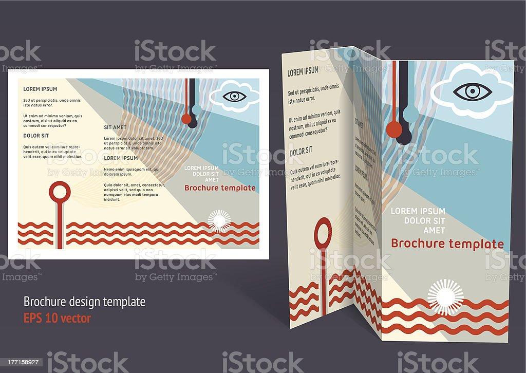 Brochure, booklet z-fold layout. Editable design template royalty-free stock vector art