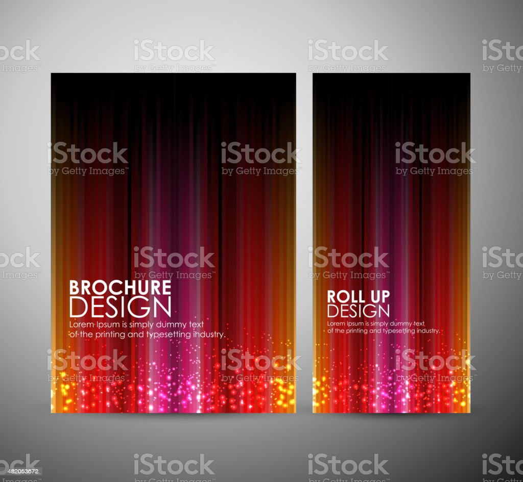 Brochure business design template or roll up with magic light. vector art illustration