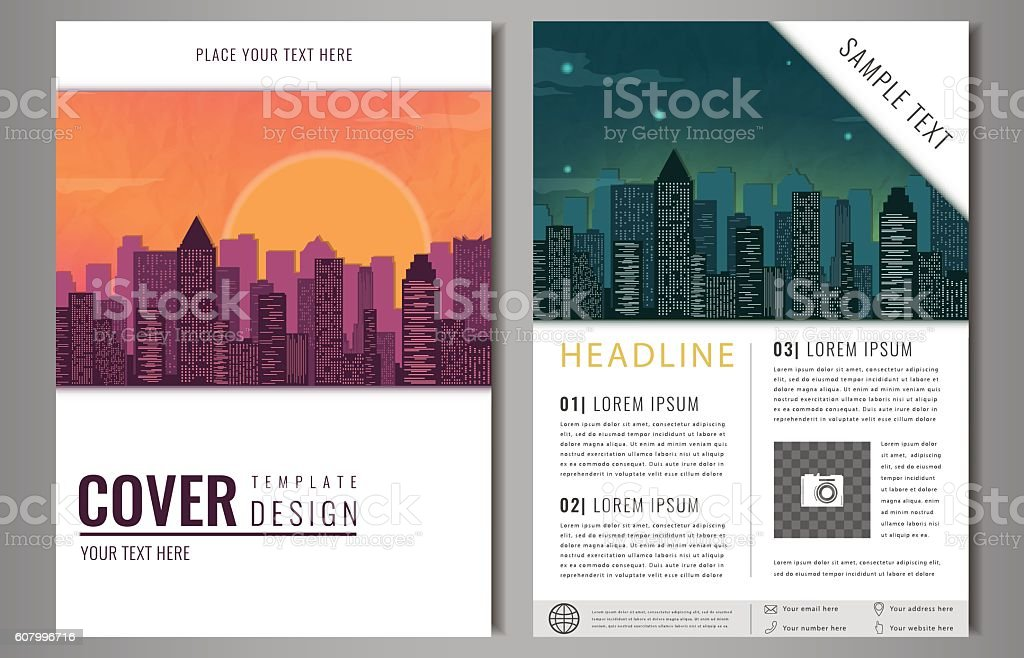 Brochure flyer design template. Leaflet cover presentation with flat city royalty-free stock vector art