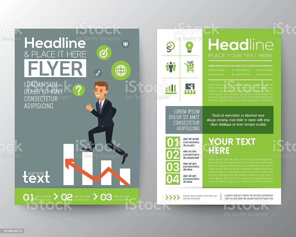 brochure flyer layout template businessman climbing on stair brochure flyer layout template businessman climbing on stair chart royalty stock vector art
