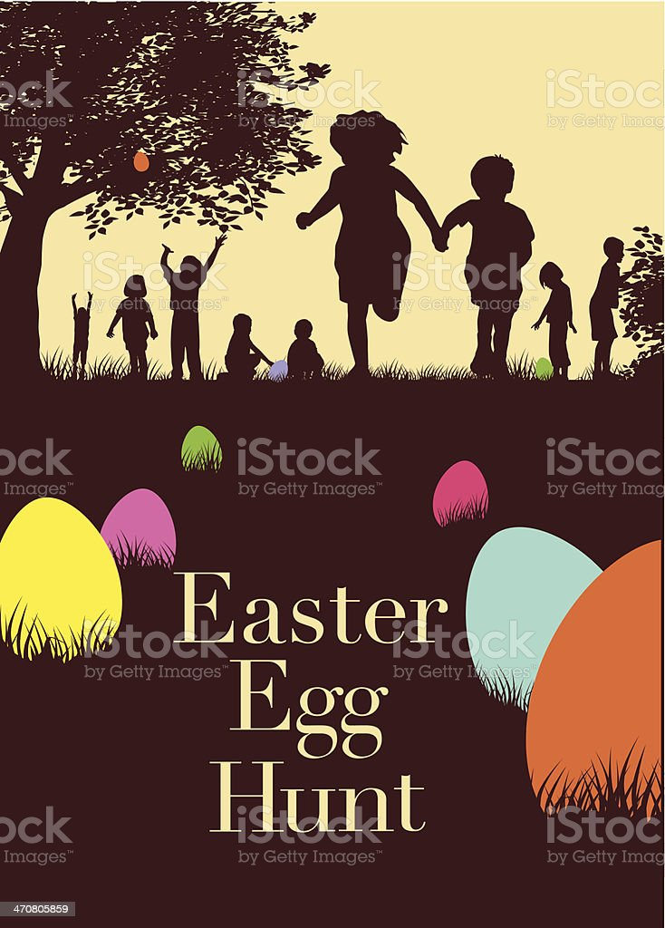 Brochure for an Easter egg hunt with accented color on eggs vector art illustration
