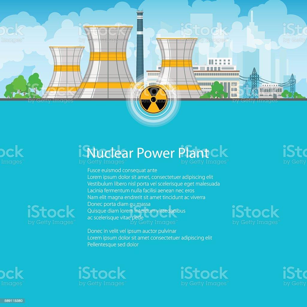 Brochure Nuclear Power Plant vector art illustration