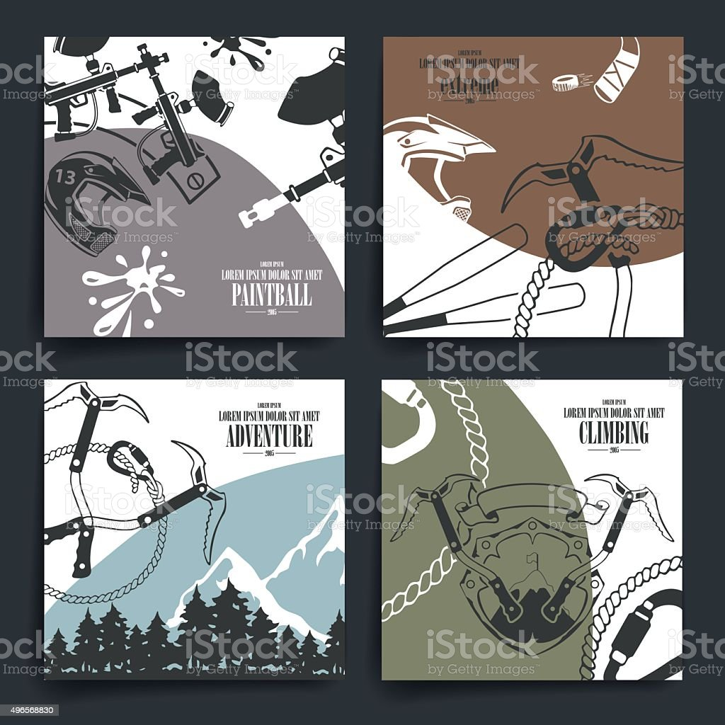 Brochure or flyers design. Extreme sport theme icons vector art illustration
