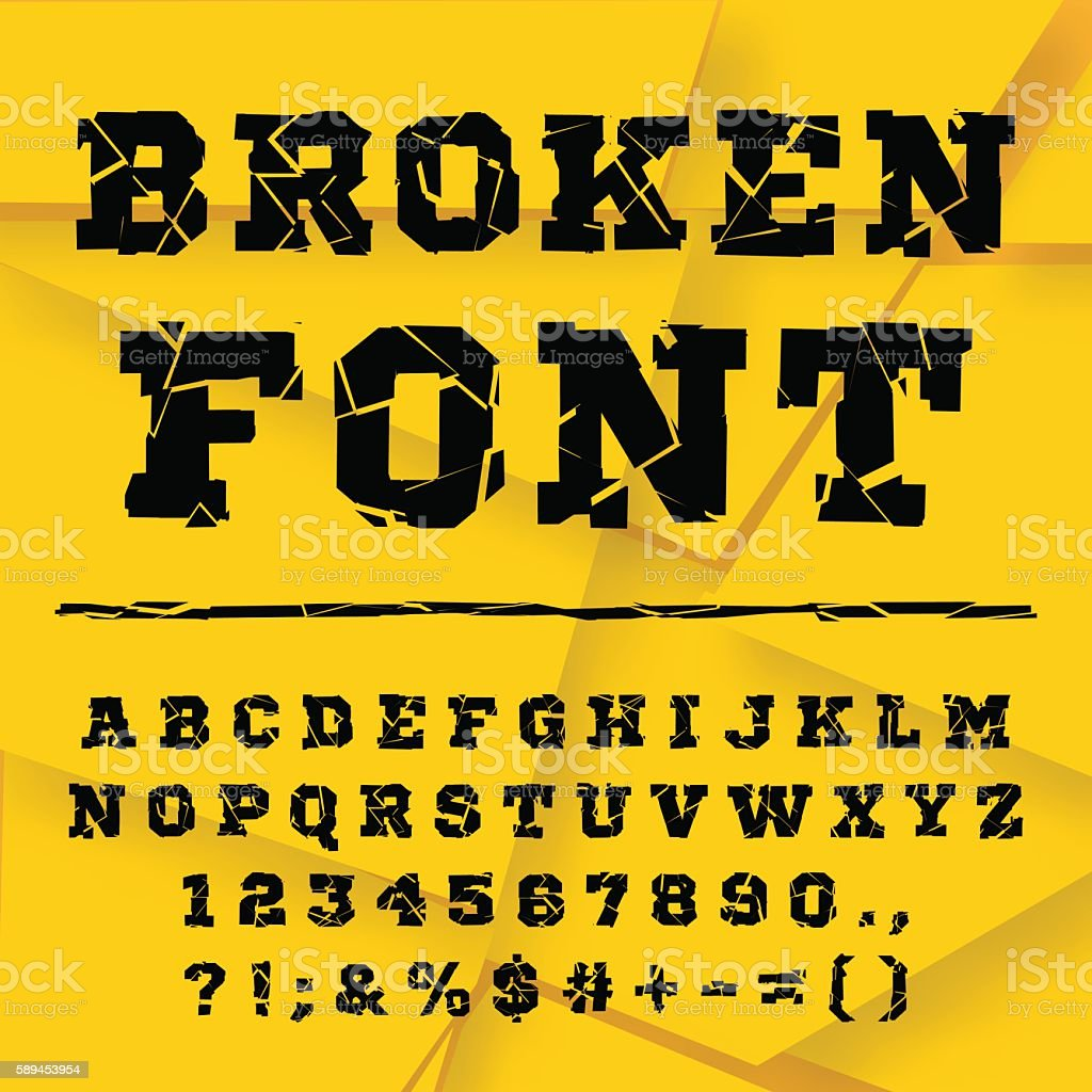 Broken alphabet. Full set vector art illustration