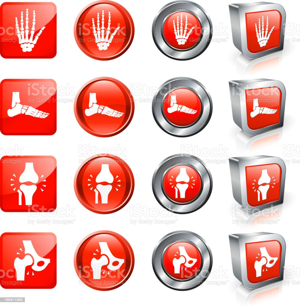 Broken and Fractures Bone Pain royalty free vector button set vector art illustration