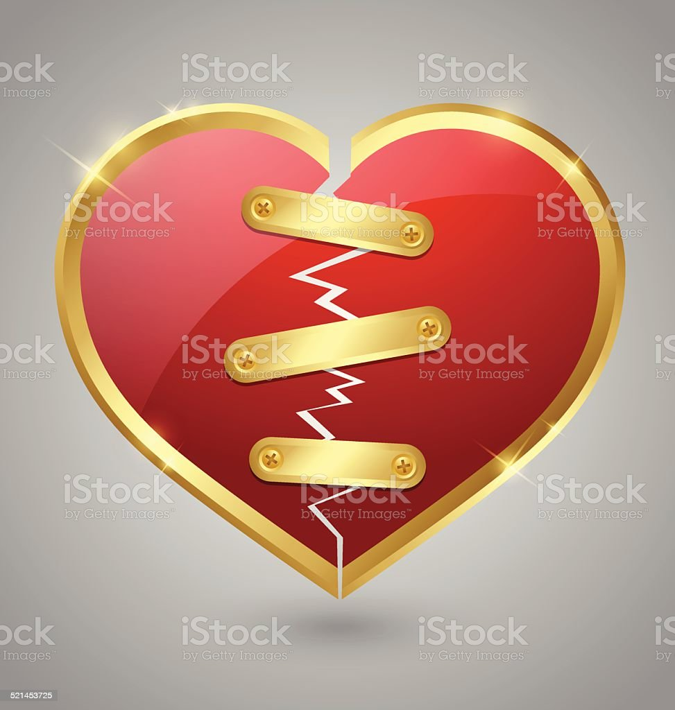 Broken and repaired heart icon vector art illustration