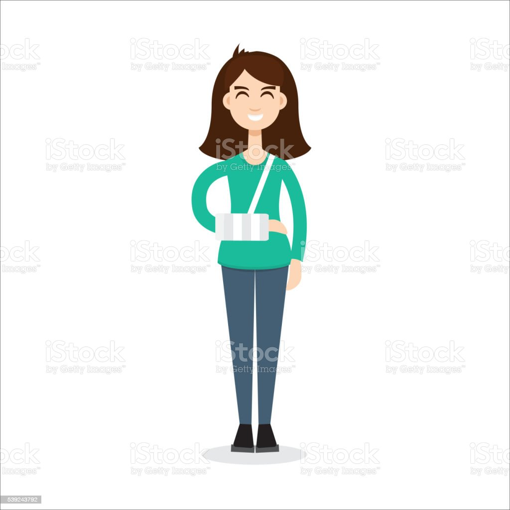 broken arm girl vector art illustration