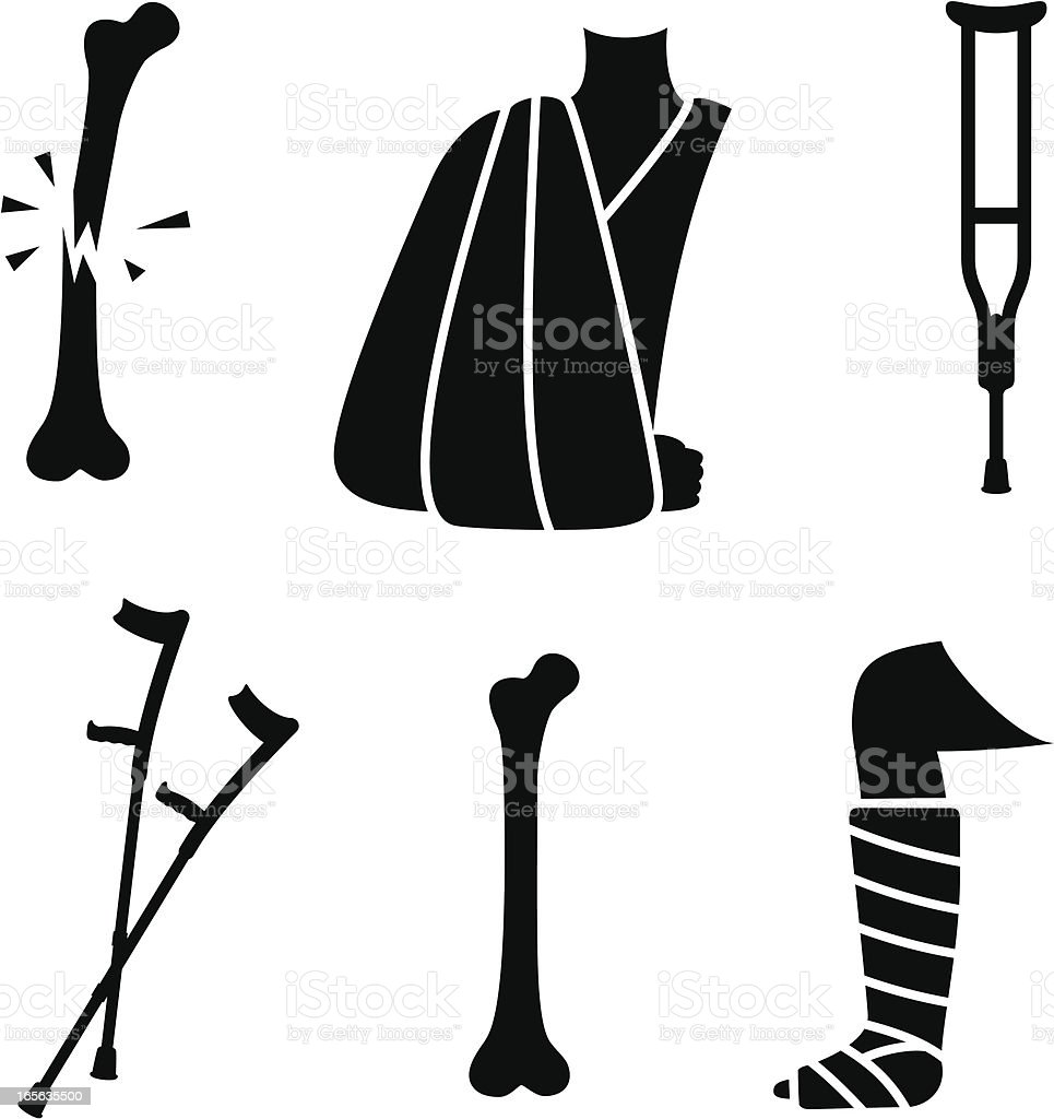 Broken bones and fracture treatment icons vector art illustration