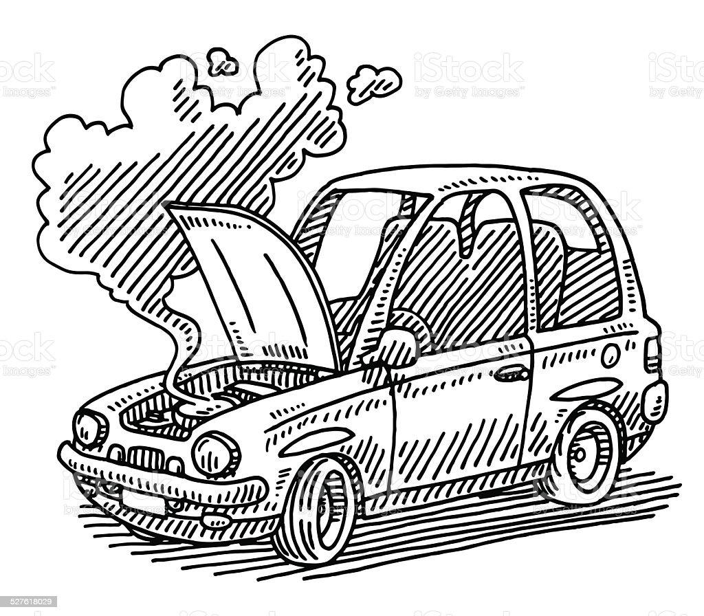 Broken Car Open Hood Drawing vector art illustration