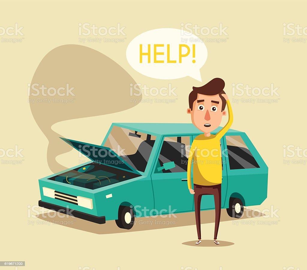 Broken car. Vector cartoon illustration. Need help vector art illustration