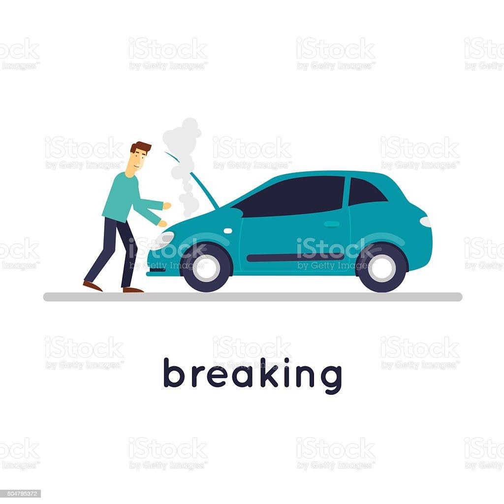 Broken car vector art illustration