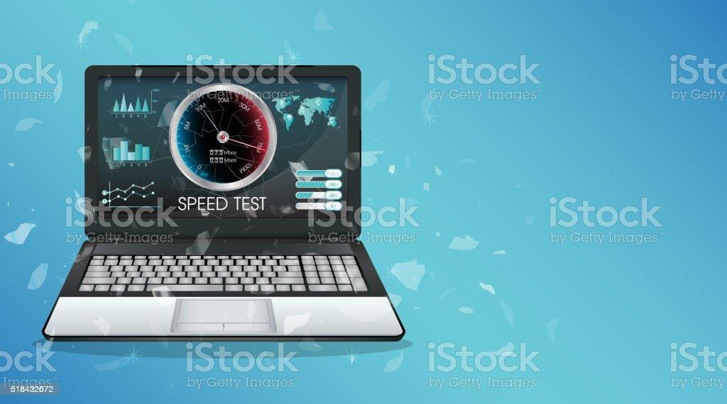 broken display laptop using internet speed test vector art illustration