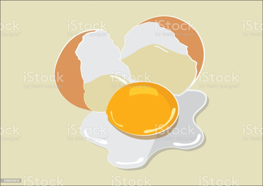 Broken Egg Flat Design vector art illustration