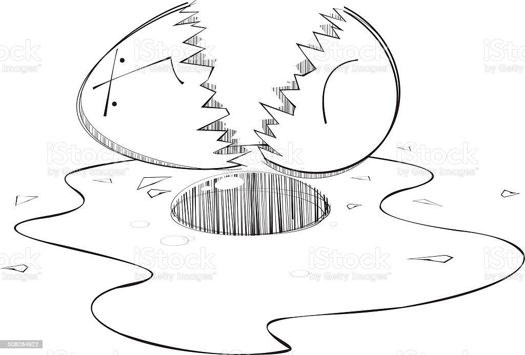 Broken Egg Head vector art illustration