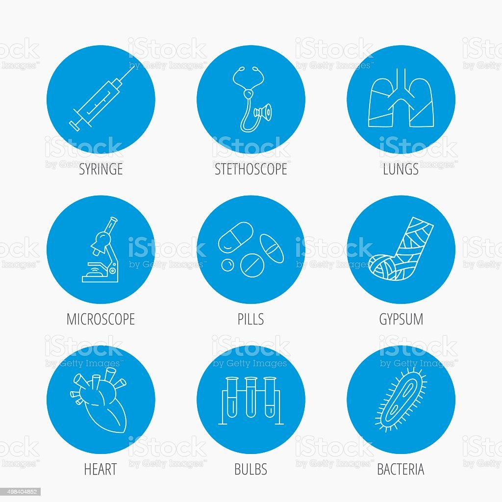 Broken foot, lungs and syringe icons. vector art illustration
