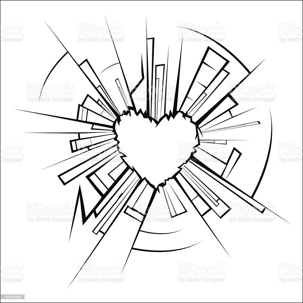 Broken glass and heart royalty-free stock vector art